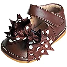 Squeaky Shoes Toddler Girls Brown Leather Bow Shoes