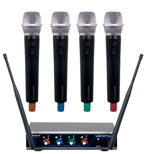VOCOPRO Four-Channel UHF Digital Wireless Handheld Microphone Mics System-H3 (4 Wireless Mic System Case)