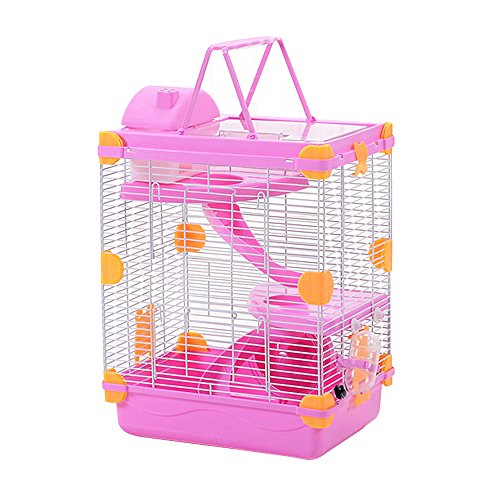 Petzilla 3-Tier Hamster Cage, Portable Carrier for Small Animals (Pink)