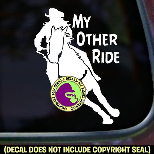 The Gorilla Farm My Other Ride Barrel Racer Horse Rider Rodeo I Love Gaming Western Vinyl Decal Bumper Sticker Laptop Window Car Trailer Sign White
