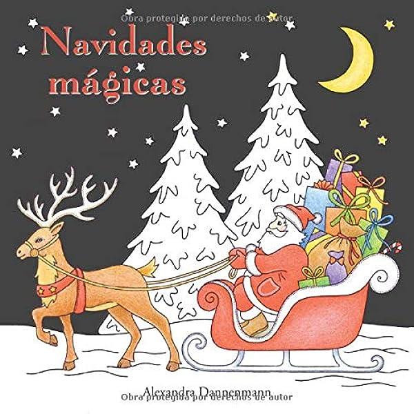 Navidades mágicas: Libro para colorear sobre fondo negro para que ...
