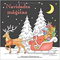 Navidades mágicas: Libro para colorear sobre fondo negro