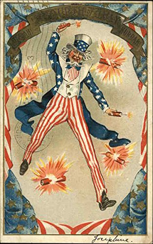 - Uncle Sam Throwing Fire Crackers 4th of July Original Vintage Postcard