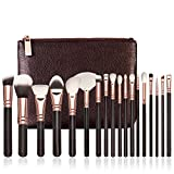 Fheaven 18 pcs Rose Gold Makeup Brush Complete Eye Set Tools Powder Blending Brush