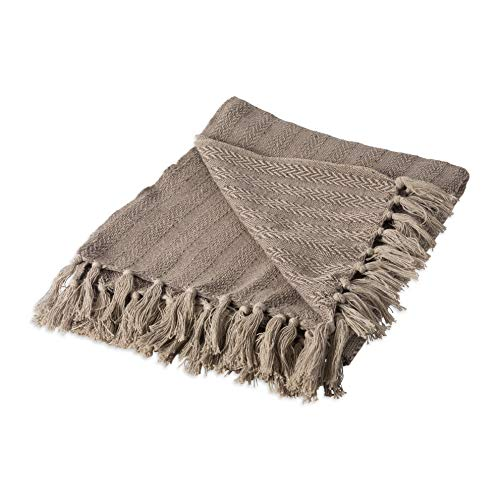 Hebel Rustic Farmhou Cotton Textured Blanket Throw with Fringe for Chair, Couch, Picnic, Camping, Beach, Everyday U, 50 x 60 - Tonal Textured Stone | Model BLNKT - 5 | 1850x60