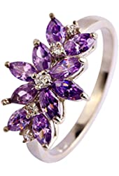 Psiroy 925 Sterling Silver Stunning Created Gorgeous Women's 2mm*4mm Marquise Cut Amethyst Filled Ring