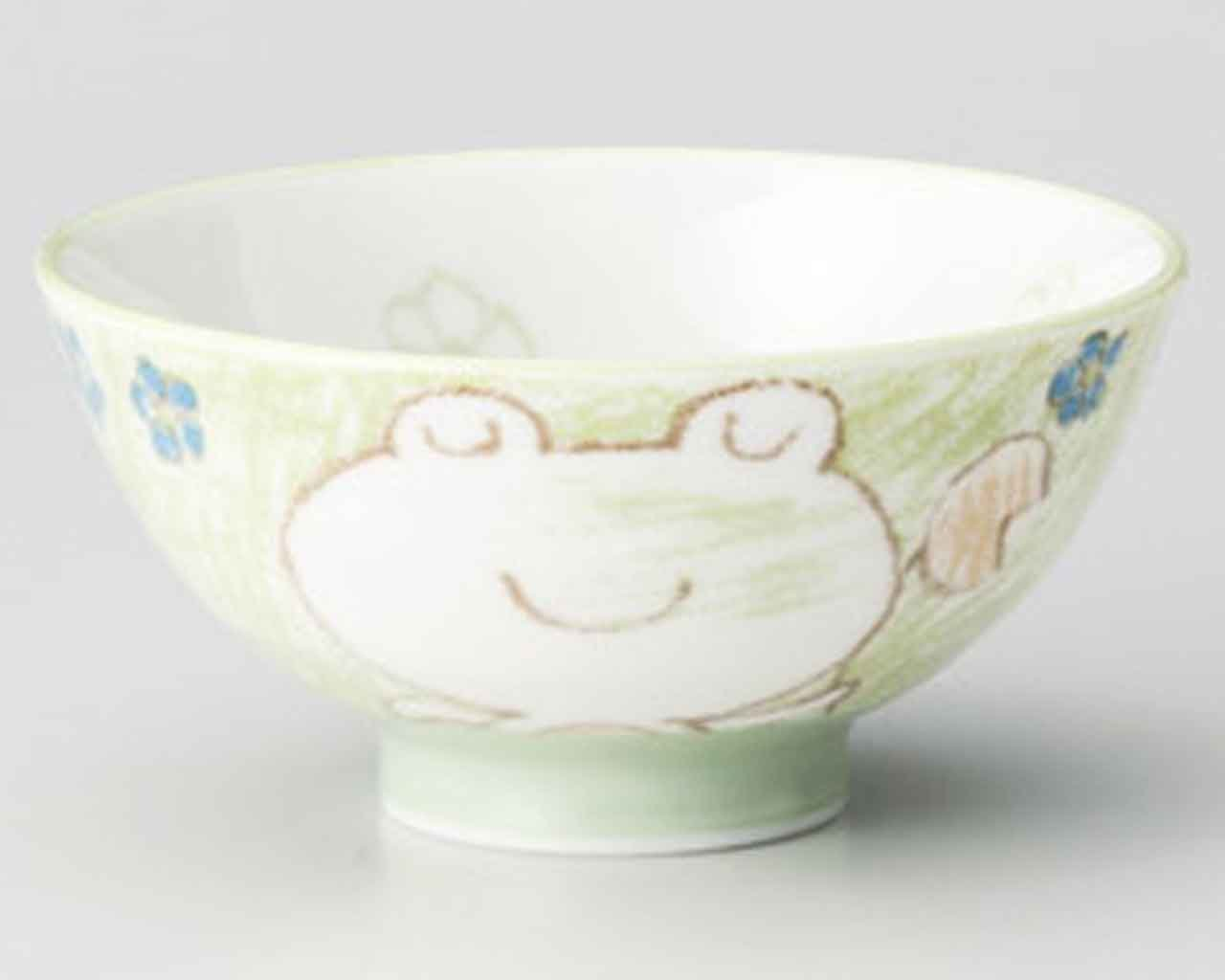 Frog Green 4.1inch Set of 2 RICE-BOWLs White porcelain Made in Japan watou.asia 4562495498213