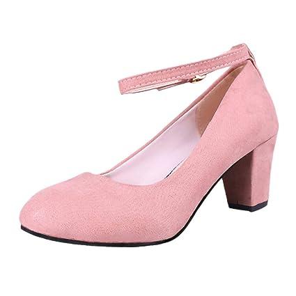 ccf27cdf2a6c2 Amazon.com: Hunzed Women【Flock High Heels】Pointed Thick Heel Shoes ...