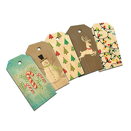 Christmas Cheery Reindeer Snowman Tree Candy Canes Gift Tags Wooden Wood Gift Tag Set