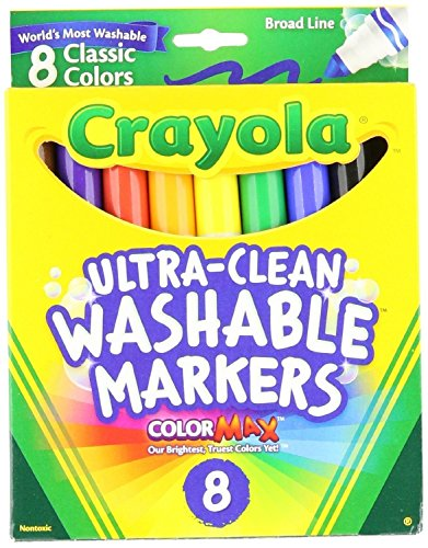Markers Point Washable Broad - Crayola Washable Markers, Broad Point, Classic Colors, 8/Pack (58-7808)