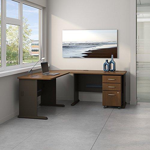 Bush Business Furniture SRA058WASU Desk and Pedestal, Sienna Walnut/Bronze by Bush Business Furniture