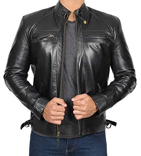 Blingsoul Mens Leather Jacket Black | [1100093] Johnson Real Black, M (Leather Biker Jacket Cowhide)