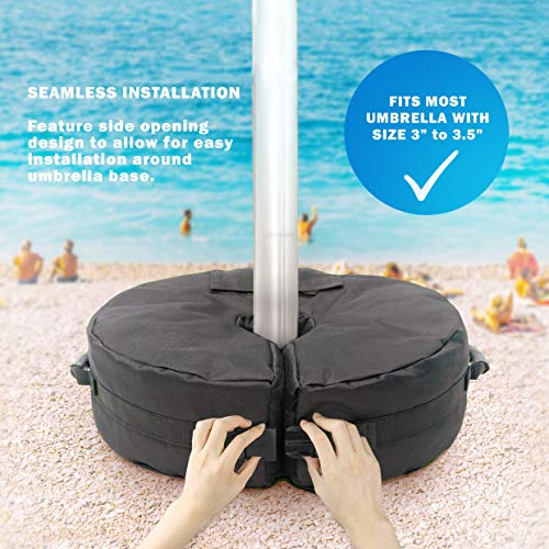RestZone 18 Round Umbrella Base Weight Bag Fits Any Offset, Cantilever Outdoor Patio Umbrella Stand Easy to Carry Install Holds Approx. 80lbs of Sand