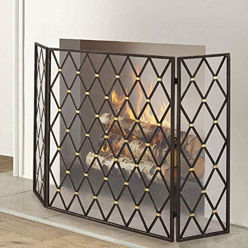 暖炉用品・アクセサリ 錬鉄ファイアースクリーン3パネル、暖炉スパークガード装飾メッシュ、木材バーナーのためのベビー安全エンバーフェンス、123×80センチメートル (Color : Black)