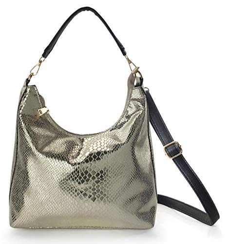 Shining Hobo Slouch Shoulder Handbag Women Satchel Snake Print Cross body Bag - Hobo Purse Sequin
