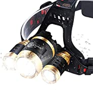 LED Headlamp, LETOUR Camping Zoom Headlamps Cree T6 LEDs 4 Modes Ultra Bright 6000 Lumens Waterproof Headlight