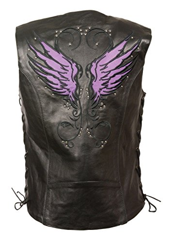 (Milwaukee WOMEN'S MOTORCYCLE RIDING LEATHER VEST W/PURPLE WINGS DETAILING SIDE LACE BLACK (2XL)