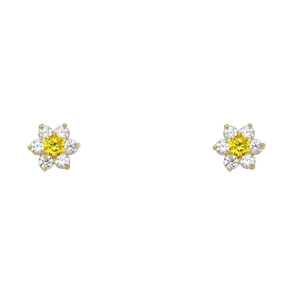 Wellingsale 14K Yellow Gold Polished Flower Birth CZ Cubic Zirconia Stone Stud Earrings With Screw Back November