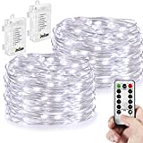 2 Pack String Lights - Battery Operated 66 LED 16.4FT Silver Wire 8 Modes Twinkling Fairy lights with Remote Waterproof for Indoor Bedroom Wedding Festival Decor Patio Christmas Lights (Cool White)
