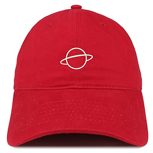 (Trendy Apparel Shop Planet Embroidered Soft Cotton Adjustable Cap Dad Hat - Red)