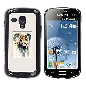 iKiki Tech / Estuche rígido - Goat Painting Horns Ram Art - Samsung Galaxy S Duos S7562