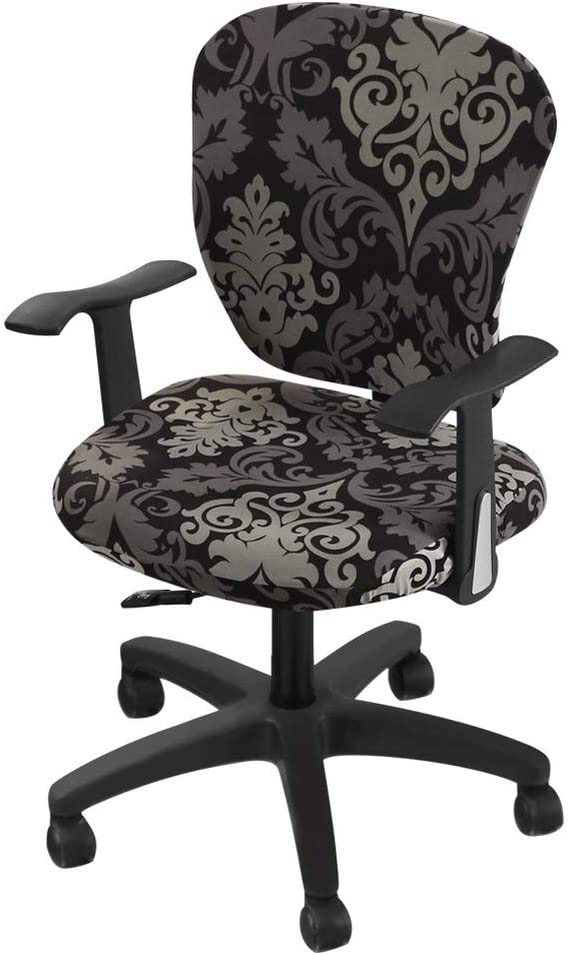 SearchI Computer Office Chair Covers, Universal Prefect Printed Fit Desk Rotating Chair Slipcover, Stretch Spandex Armchair Covers for Dining Room, Living Room and Office(Black Pattern)