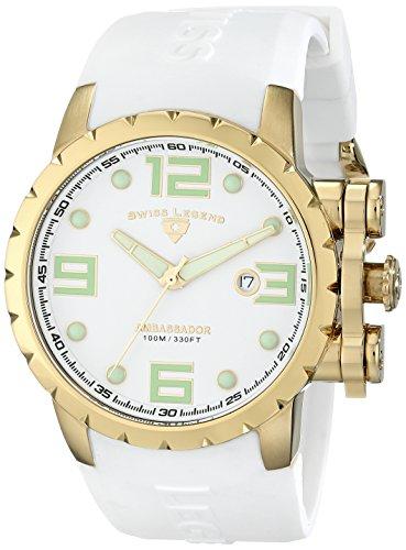 Swiss Legend Men's 30021-YG-02 Ambassador White Dial White Silicone Watch