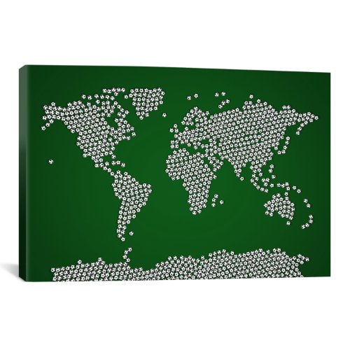 iCanvasART Football Soccer Balls World Map by Michael Thompsett Canvas Art Print, 40 by 26-Inch by iCanvasART