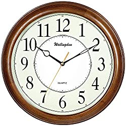 TXL Wooden Wall Clock 12.6 Luminous Silent Clock Brown Solid Basswood Case Non Ticking Digital Home Decor Vintage Medieval Wood Clock, G10393