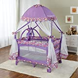 Big Oshi Portable Playard Deluxe Bundle – Nursery Center With Canopy Net Topper – Medium Size – Lightweight, Compact Design, Includes Carry Bag – Perfect for Indoor or Outdoor Backyard Use, Purple