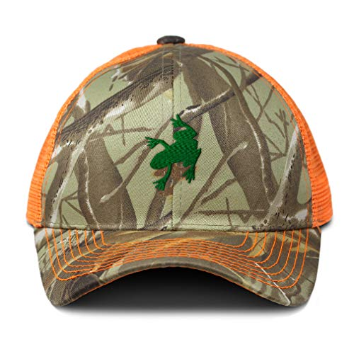 Frog Trucker Hat - Speedy Pros Camo Mesh Trucker Hat Frog A Embroidery Cotton Neon Hunting Baseball Cap Strap Closure One Size Orange Camo Design Only