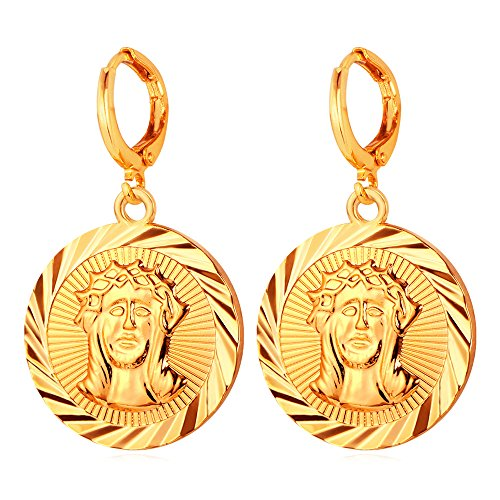 Coin Drop Earrings For Women Gold Plated Jesus Christ Medal Dangle Earring By U7