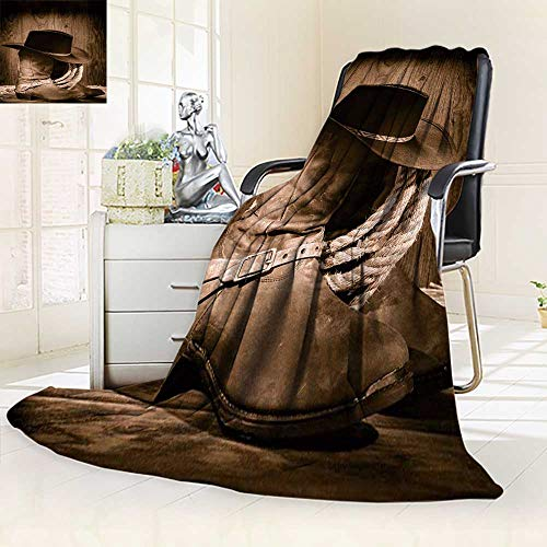 YOYI-HOME Duplex Printed Blanket,Cow boy Black Felt hat ATOP Worn Western Boots and Spurs withold ranching Rope in an Antique Wood Anti-Static,2 Ply Thick,Hypoallergenic/59 W by 86.5