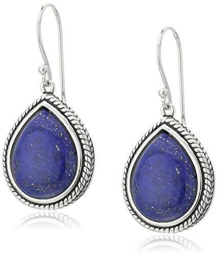 Sterling Silver Lapis Rope Teardrop Earrings (Pear Shape Twist Earrings)