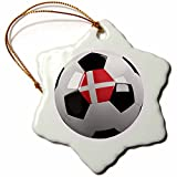 3dRose orn_157032_1 Soccer Ball with The National Flag of Denmark on It Danish Snowflake Ornament, Porcelain, 3-Inch
