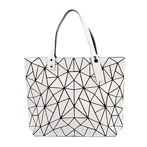 Bolso de mano Mujer Plegable Geométrica Plaid Láser Bolsas Casual Tote Women Handle Bag Hombro azul oscuro White