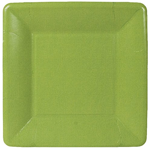 Entertaining with Caspari Grosgrain Border Square Salad/Dessert Plates, Moss Green, 8-Pack
