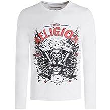 True Religion Men's Long Sleeve Motorblock T-Shirt White