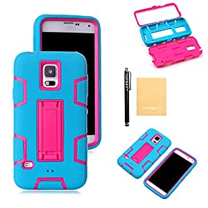 Topsky(TM) Robot Armor Defender With Stand Design Case Fit For Samsung Galaxy S5,Screen Protector,Free Stylus,Cleaning Cloth ZJJQR Blue Pink