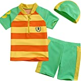 Panda Superstore Orange Striped Swimsuit Boys Two Piece Bathing Suit with Cap S