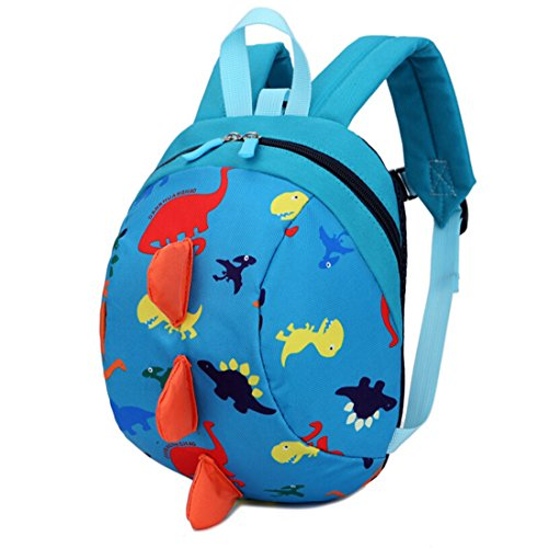LmeiKKKindergarten Cartoon Dinosaur Backpack Oxford cloth Snacks Storage bags (Peacock Blue)]()