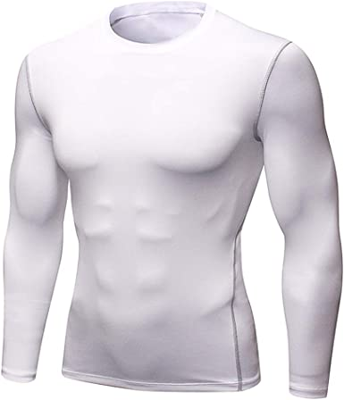 Mens Compression T-Shirt Muscle Long Sleeve Gym Under Base Layer Sports Tops