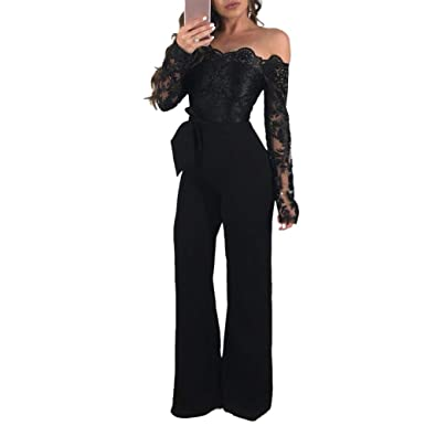 64560a9647b42 Amazon.com  ECHOINE Womens Sexy Off Shoulder Jumpsuit Long Sleeve Bodycon  Wide Leg Floral Lace Romper with Belt  Clothing