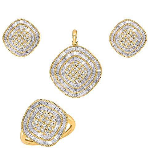 10K Yellow Gold Round & Baguette Real Diamond Cluster Ring Earrings Pendant Set (3.15 TCW) (jewelry set) ()