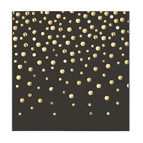 Dr.Fride Black Luncheon Napkins with Gold Polka Dots, Folded 6.5x6.5 inch, 3-Ply, Pack of 50, Disposable Paper Napkins With Sparkly Gold Foil Dots for Anniversary, Dinner, Wedding, Cocktail, Party