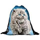 Cheap Egmy® Hot! 2016 Mens Womens Cat Backpacks Bags Drawstring Backpack (Blue)