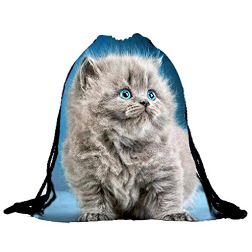 Egmy® Hot! 2016 Mens Womens Cat Backpacks Bags Drawstring Backpack (Blue)