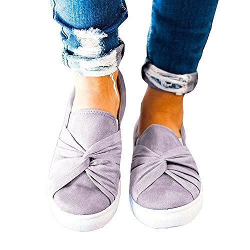 XMWEALTHY Women's Slip-on Loafers Top Suede Bowknot Flatform Fashion Sneakers Grey US...