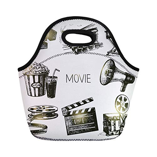 Semtomn Neoprene Lunch Tote Bag Camera Movie and Film Vintage Sketch Cinema Production Popcorn Reusable Cooler Bags Insulated Thermal Picnic Handbag for Travel,School,Outdoors,Work