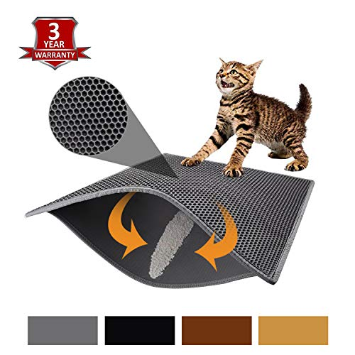 "Pieviev Cat Litter Mat Litter Trapping Mat, 30"" X 24"" Inch Honeycomb Double Layer Design Waterproof Urine Proof Trapper Mat for Litter Boxes, Large Size Easy Clean Scatter Control (Grey)"